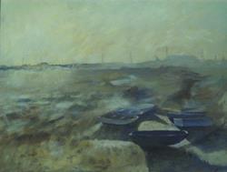 Art: Blue Boat (Leigh-On-Sea, Essex) by Artist John Wright