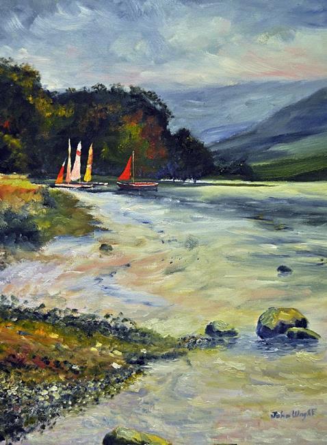 Art: Boats on Ulswater by Artist John Wright