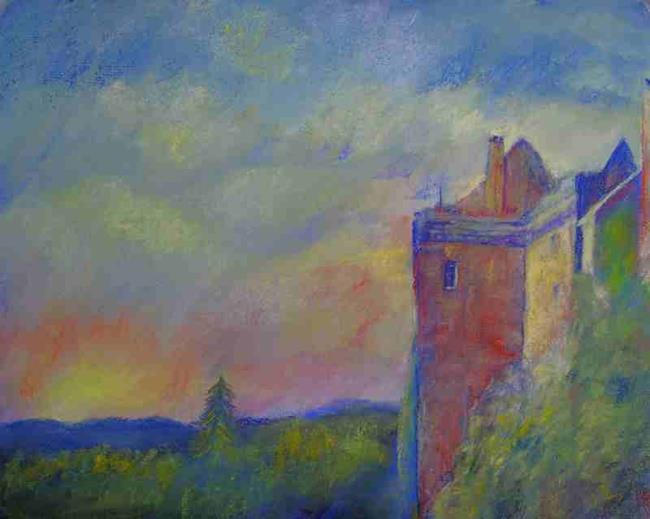 Art: The Day Is Ending (Brodick Castle, Arran) by Artist John Wright