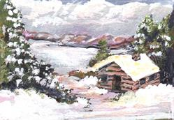 Art: Cabin by the Lake by Artist L. M. McCurdy