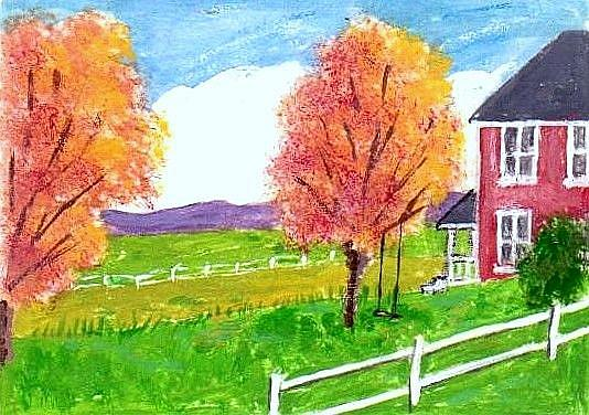 Art: Fall Afternoon - Original Acrylic ACEO by Artist Fran Caldwell