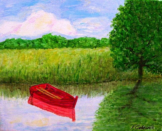 Art: Old Red Boat II (Sold) by Artist Fran Caldwell