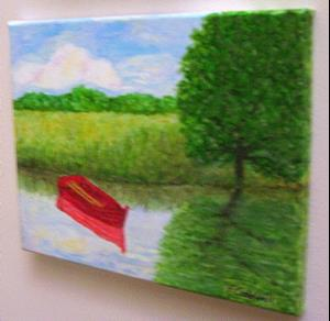 Detail Image for art Old Red Boat II (Sold)