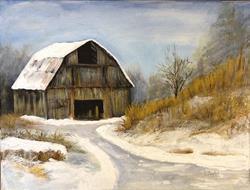 Art: The Old Barn in Winter, Snow Scene by Artist Penny StewArt