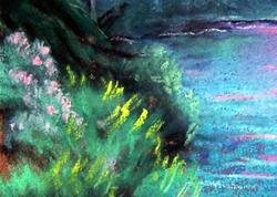 Art: Summer Sunset by the Stream by Artist L. M. McCurdy
