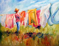 Art: Hanging Wash by Artist Laurie Justus Pace