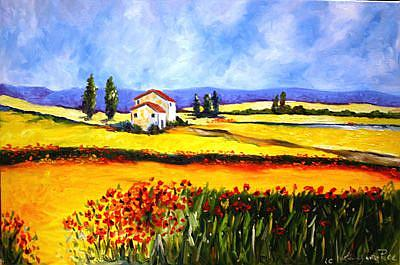 Art: Tuscany Countryside Flowers by Artist Laurie Justus Pace