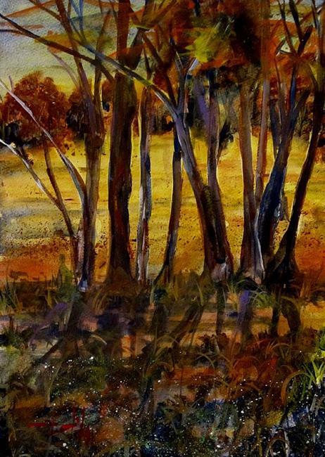 Art: Sunset Woods by Artist Delilah Smith