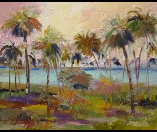 Art: Morning Palms by Artist Delilah Smith