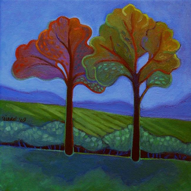 Art: Two Trees by Artist Elizabeth Fiedel