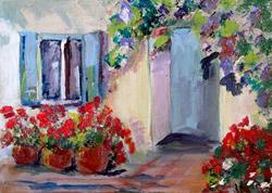 Art: Santorini Geraniums by Artist Delilah Smith