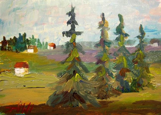 Art: Landscape and Pine Trees by Artist Delilah Smith