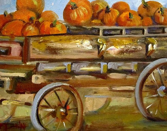 Art: Pumpkin Wagon- SOLD by Artist Delilah Smith