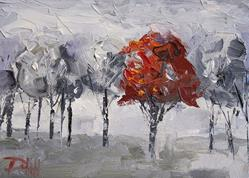 Art: Red Among the Gray by Artist Delilah Smith