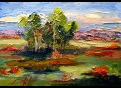 Art: Landscape with Poppies No. 2 by Artist Delilah Smith