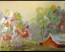 Art: Barn and Flowering Trees by Artist Delilah Smith