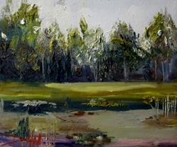 Art: Landscape with Pond by Artist Delilah Smith
