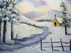 Art: Church in the Snow by Artist Barbara Haviland