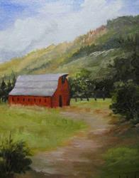 Art: Red Barn IN the Mountains by Artist Barbara Haviland