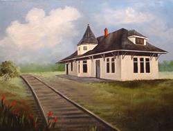 Art: Orange Tex Train Depot by Artist Barbara Haviland