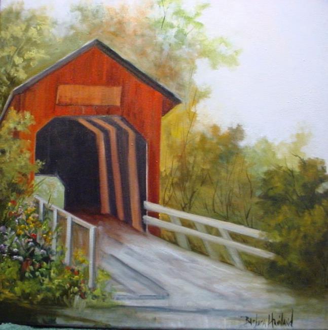 Art: The Red Bridge SOLD by Artist Barbara Haviland