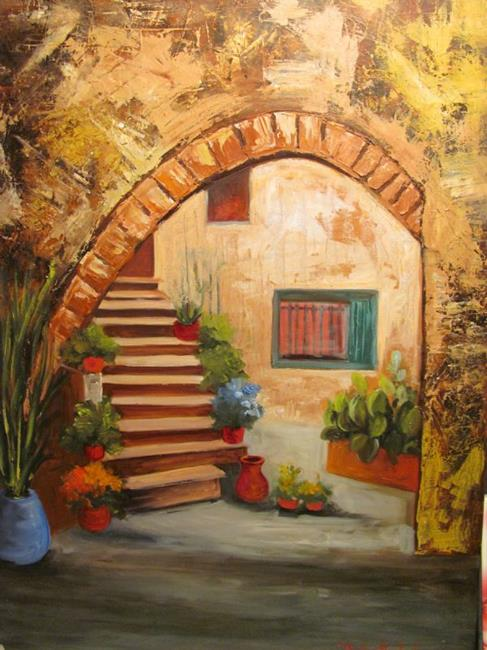 Canvaspanelholder5 by barbara haviland from for Tuscan courtyard landscaping