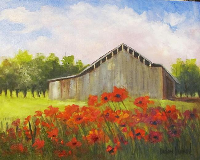 Art: Poppies and a Gray Barn by Artist Barbara Haviland
