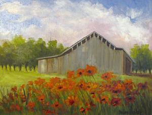 Detail Image for art Poppies and a Gray Barn