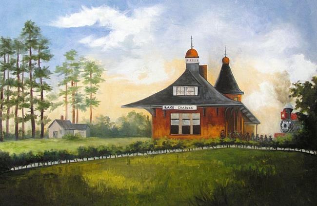 Art: Kansas City Southern Railroad Depot Station by Artist Barbara Haviland