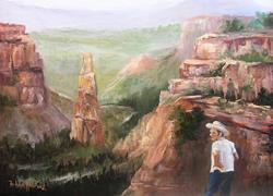 Art: Joe Looking About Landscape in oils by Artist Barbara Haviland
