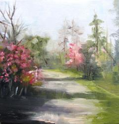 Art: Down the RedBud Path by Artist Barbara Haviland