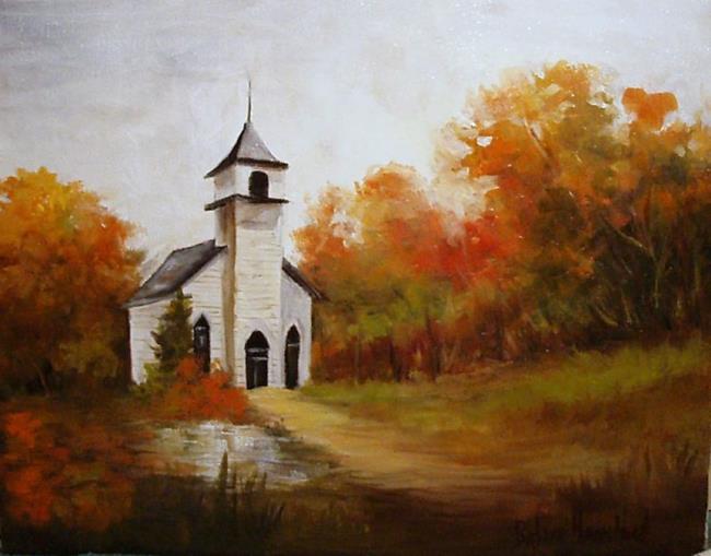 Art Country Church In Fall By Artist Barbara Haviland