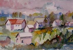 Art: Houses in the Landscape by Artist Delilah Smith