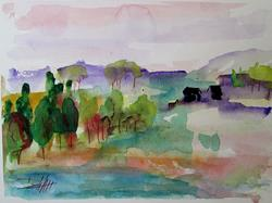 Art: Landscape with Houses-SOLD by Artist Delilah Smith