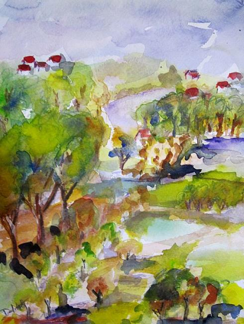 Art: Red Roof Houses in the Landscape by Artist Delilah Smith