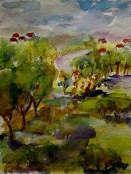 Art: Red Roofs in the Landscape by Artist Delilah Smith