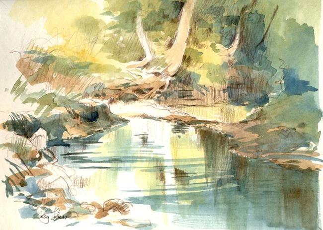Art: Rush Creek Pool (plien aire sketch) by Artist Cathy  (Kate) Johnson
