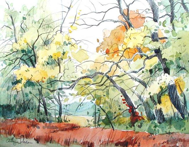 Art: Autumn Woods by Artist Cathy  (Kate) Johnson