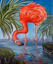 Art: Flamingo Beach: the Painting by Artist Alma Lee