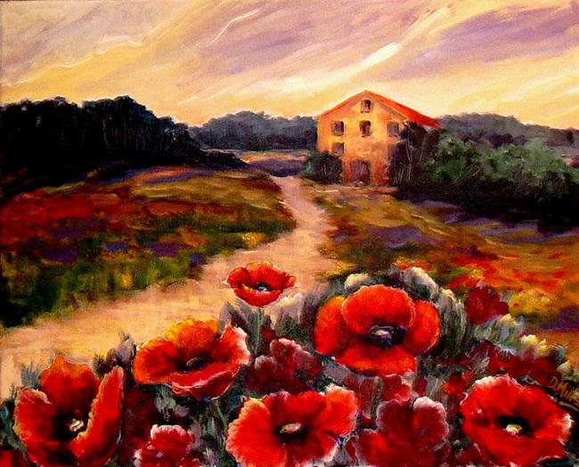 Art: Field of Red Poppies by Artist Diane Millsap