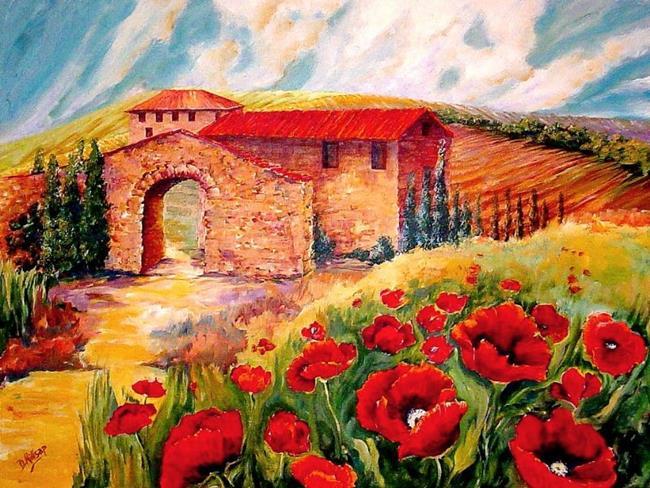 Art: Red Poppy Landscape - SOLD by Artist Diane Millsap