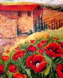 Detail Image for art Red Poppy Landscape - SOLD
