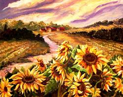 Art: Sunflowers on a Windy Day - SOLD by Artist Diane Millsap