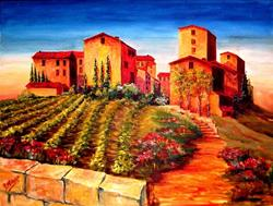 Art: Old World Village by Artist Diane Millsap