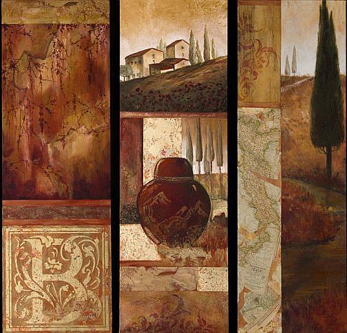 Art: Tuscan triptyck by Artist Kathryn Delany