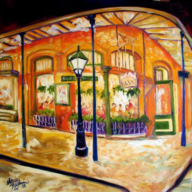 Art: FRENCH QUARTER CAFE on ROYAL ST. by Artist Marcia Baldwin