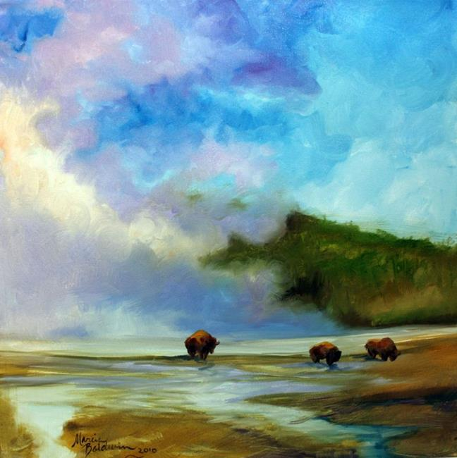 Art: YELLOWSTONE BUFFALO LANDSCAPE by Artist Marcia Baldwin