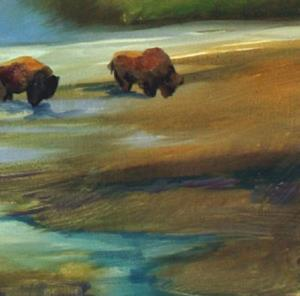 Detail Image for art YELLOWSTONE BUFFALO LANDSCAPE