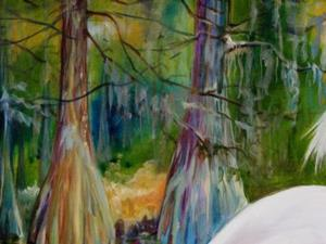 Detail Image for art SNOWY EGRET on CYPRESS BAYOU