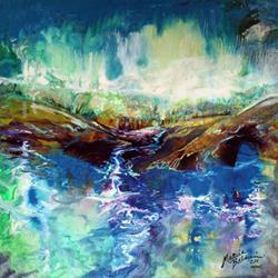 Art: ABSTRACT LANDSCAPE RIVER RUN II by Artist Marcia Baldwin